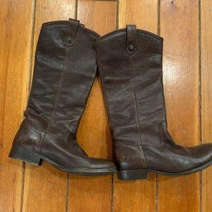 Frye Melissa Button Dark Brown Boots Size 8.5